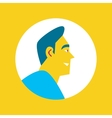 Smiling bearded man round avatar icon vector image