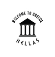 welcome to greece with icon hellas in black vector image