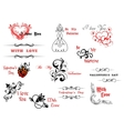 Valentines day symbols and headers vector image