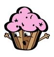 Kawai funny cartoon chocolate cupcake with vector image vector image