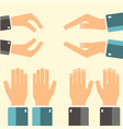 hands icons set flatddesign vector image