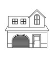 house home construction garage residential outline vector image