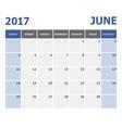 2017 June calendar week starts on Sunday vector image vector image