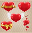 hearts symbols set vector image