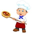 Cartoon a baker with Pizza vector image