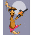 cartoon funny moose with noodles on the horn cut vector image
