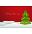 Christmas tree on red background card vector image