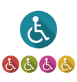 Colorful Pictogram of Disabled in Wheelchai vector image