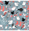 Graphic pattern of different birds vector image