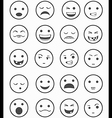 icons set 20 emotional smiles black and white vector image