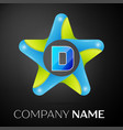 letter d logo symbol in the colorful star on black vector image