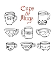 set of 8 cute mugs and cups vector image