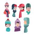 set of hats for winter season man and woman hats vector image
