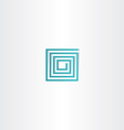 turquoise square spiral logo icon vector image