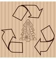 Recycling symbol with tree on cardboard vector image