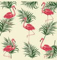 flamingo leaves palm exotic tropical vector image vector image