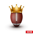 American football ball with royal crown vector image