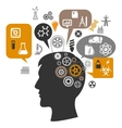 Scientist head with gears and thought bubbles vector image