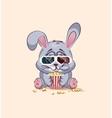 Emoji character cartoon Gray leveret chewing vector image