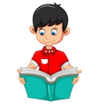 boy cartoon reading book for you design vector image vector image