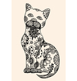 doodle outline cat vector image