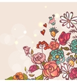 Floral background with roses and birds vector image