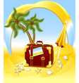 Suitcase for summer at the beach vector image