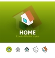 Home icon in different style vector image