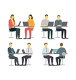 Two workers at the table Business people set vector image vector image
