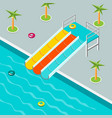 the water park is isometric vector image