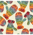 seamless winter Christams pattern with bright mitt vector image vector image