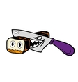 Cartoon Japanese wicked sharp knife cut sushi into vector image