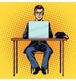 Businessman works behind laptop vector image