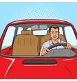Man drive car pop art style vector image