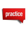 practice red 3d realistic paper speech bubble vector image