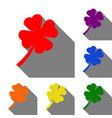 leaf clover sign set of red orange yellow vector image