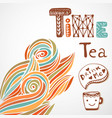 tea time doodle lettering with cute cup autumn vector image