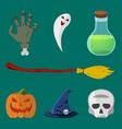 halloween icon set pumpkin skull hat ghost vector image