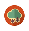 Cloud Snow Rain retro flat icon Weather vector image