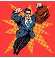 Businessman superhero work flight business concept vector image