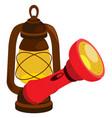 flashlight and lantern inventory hunter woodsman vector image