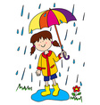 Little girl with umbrella vector image