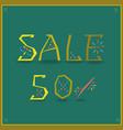 sale fifty percents unusual font vector image