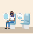 trendy bearded black man sleeping on the plane vector image