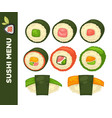 sushi food colorful flat collection on vector image