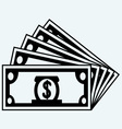 Stack dollars banknotes vector image