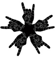 Five rock hands abstract symbol black and white vector image