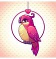Cute cartoon pink girl bird vector image