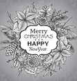 Merry Christmasr greeting card with winter plant vector image
