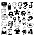 set of cartoon school objects silhouettes vector image